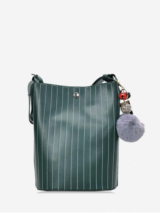 chic Pom Pom Vertical Quilted Leather Bucket Bag - DARK GREEN