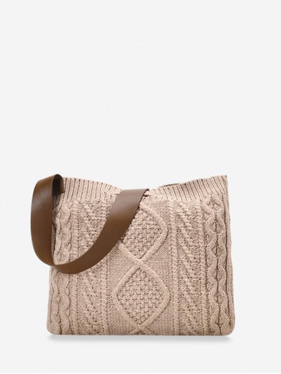 online Knitted Wide Strap Crossbody Bag - KHAKI