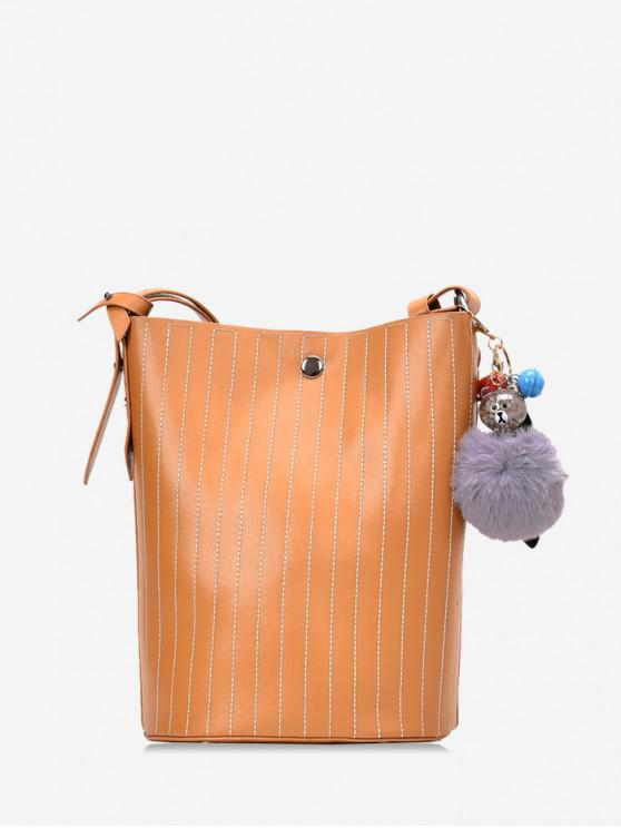 chic Pom Pom Vertical Quilted Leather Bucket Bag - BROWN