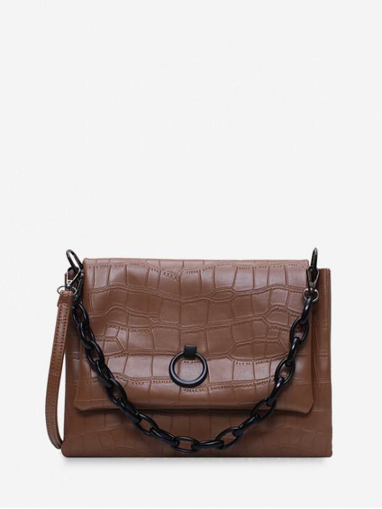best Solid Color Textured Crossbody Bag - KHAKI