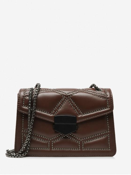 online Geo Studded Square Leather Shoulder Bag - COFFEE