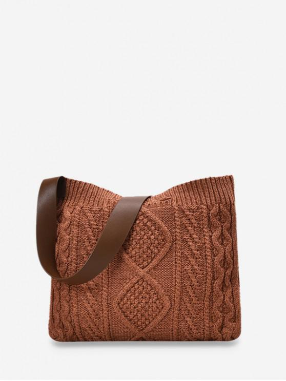 shops Knitted Wide Strap Crossbody Bag - BROWN