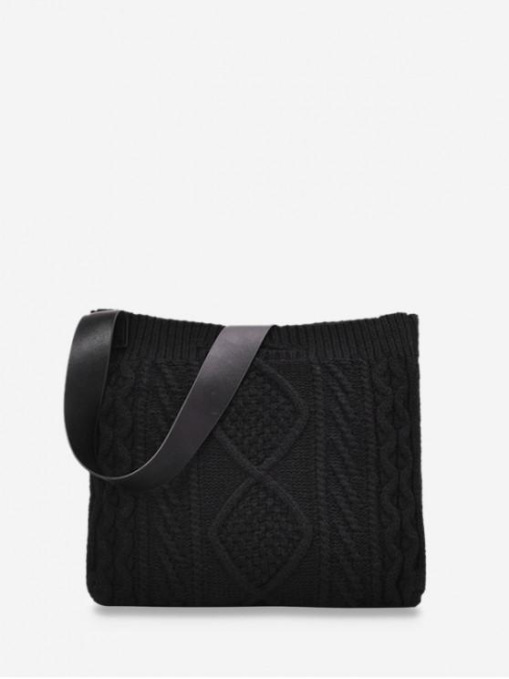 sale Knitted Wide Strap Crossbody Bag - BLACK