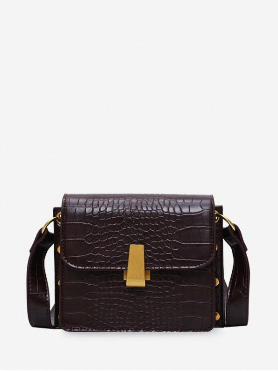 womens Textured Design Square Crossbody Bag - COFFEE