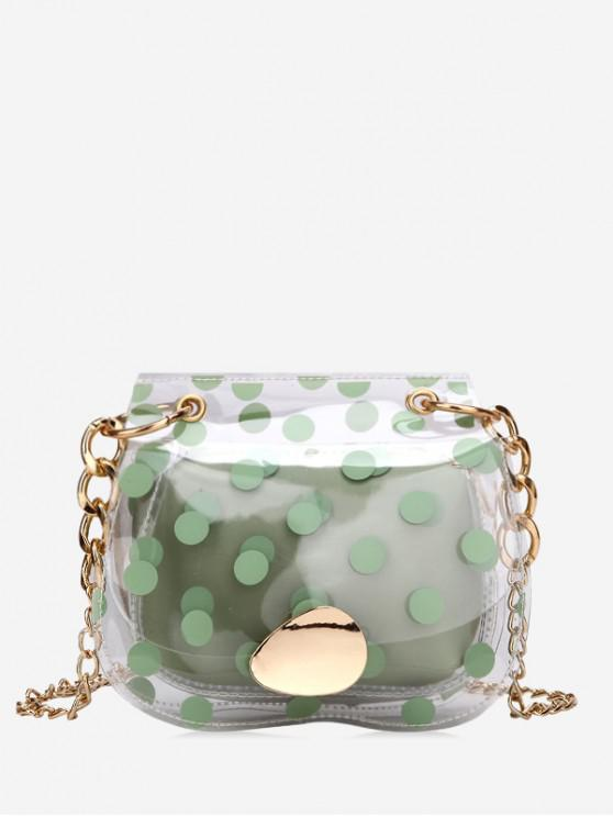 women's Clear Polka Dot Mini Chain Crossbody Bag - ALGAE GREEN