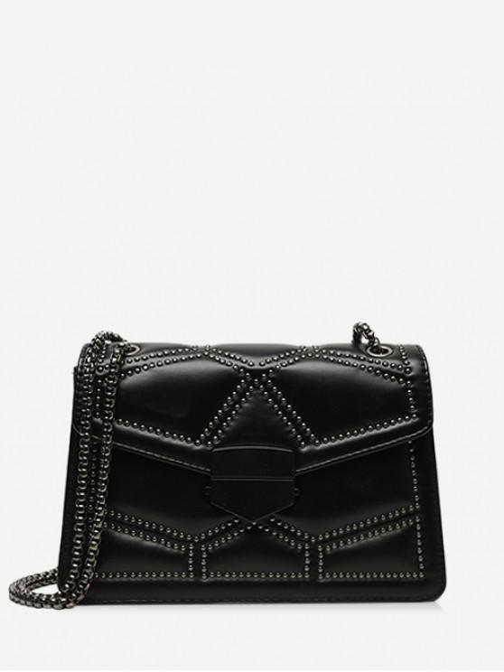 outfits Geo Studded Square Leather Shoulder Bag - BLACK