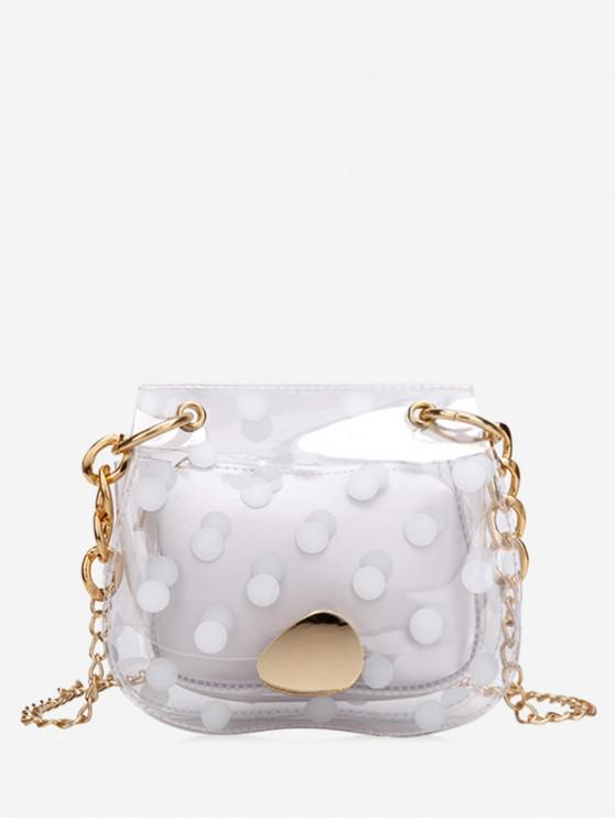shop Clear Polka Dot Mini Chain Crossbody Bag - MILK WHITE