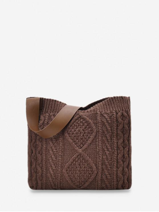 latest Knitted Wide Strap Crossbody Bag - COFFEE