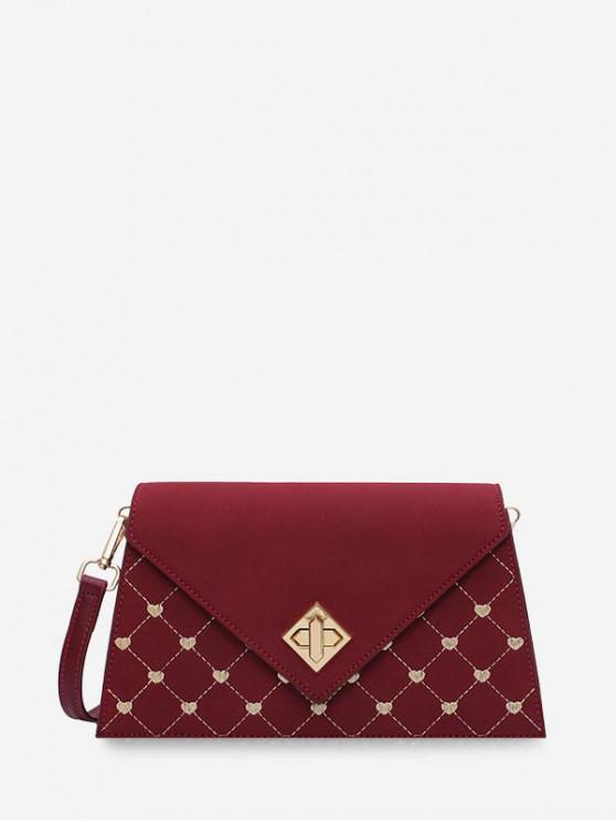 trendy Geo Gilding Hasp Flap Crossbody Bag - RED WINE