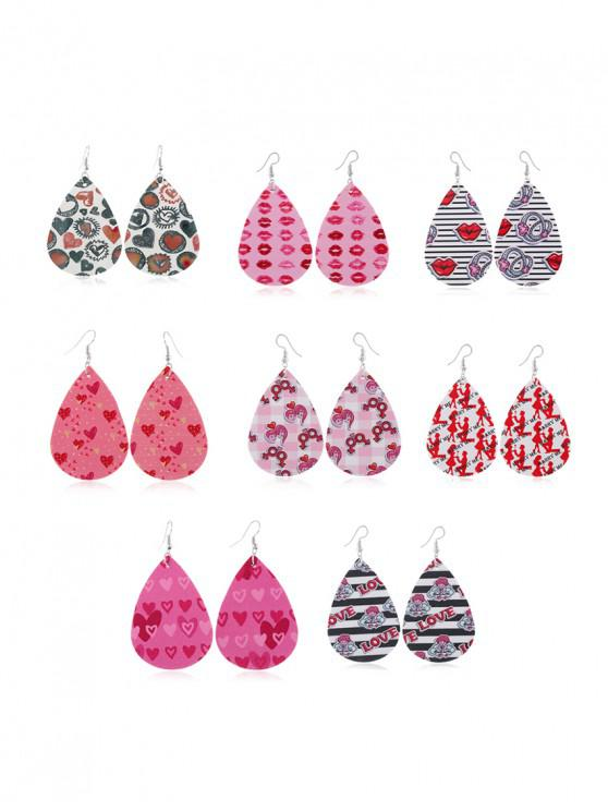 fashion 8Pairs Valentine Heart Leather Earrings Set - MULTI