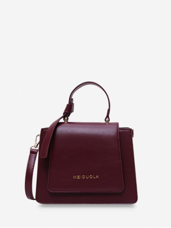 chic Top Handle Leather Mini Crossbody Bag - RED WINE