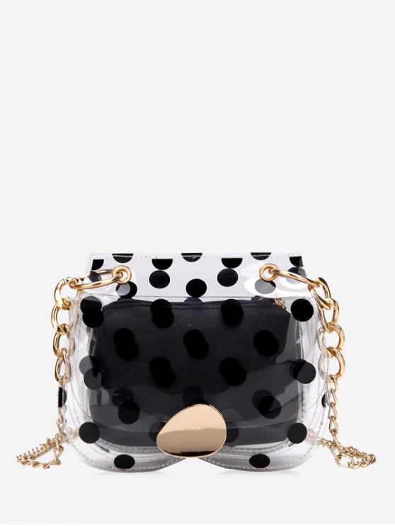 unique Clear Polka Dot Mini Chain Crossbody Bag - BLACK
