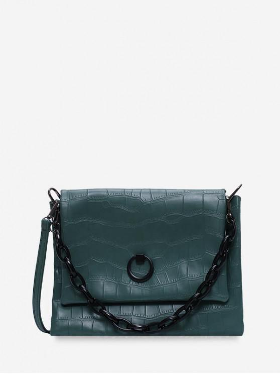 womens Solid Color Textured Crossbody Bag - DARK GREEN
