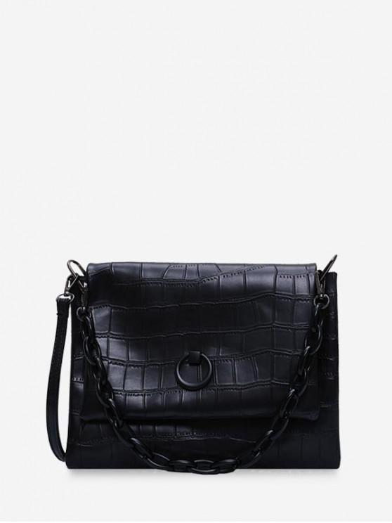 ladies Solid Color Textured Crossbody Bag - BLACK