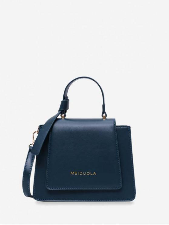 outfit Top Handle Leather Mini Crossbody Bag - PEACOCK BLUE