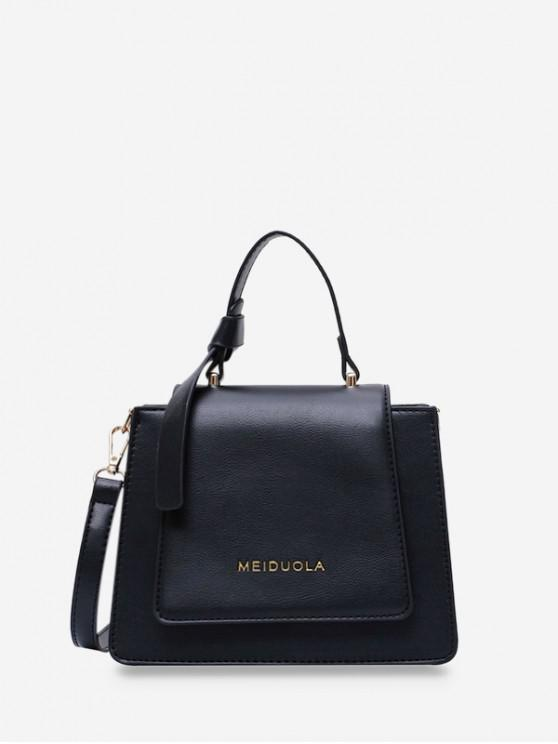 outfits Top Handle Leather Mini Crossbody Bag - BLACK