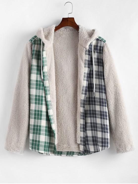 lady Plaid Pattern Button Up Fluffy Hooded Jacket - MULTI L