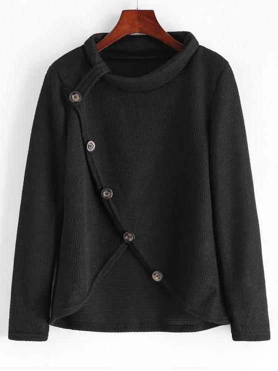 lady Cowl Neck Buttoned Overlap Knitwear - BLACK S