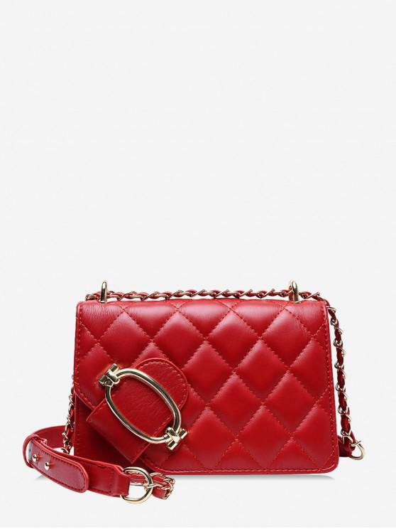 women's Casual Solid Color Textured Crossbody Bag - RED WINE