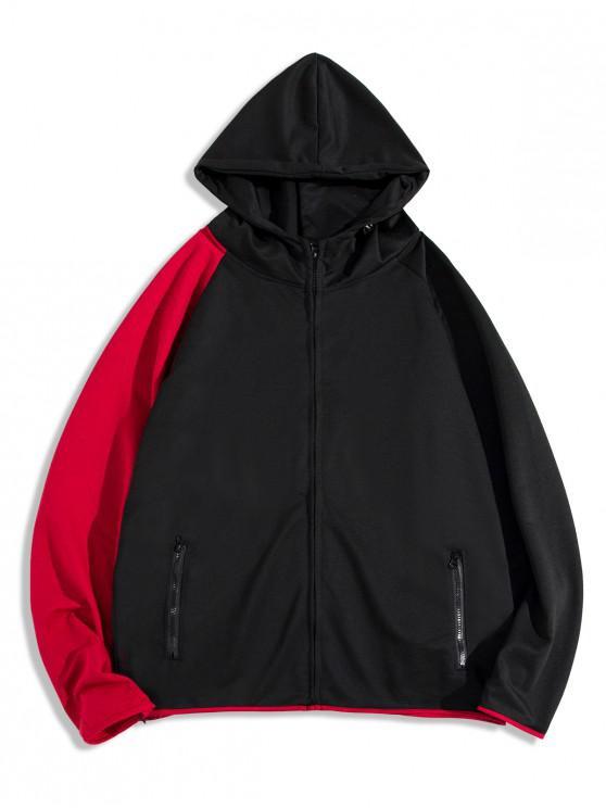 ladies Colorblock Splicing Raglan Sleeve Zip Up Hoodie - BLACK 3XL