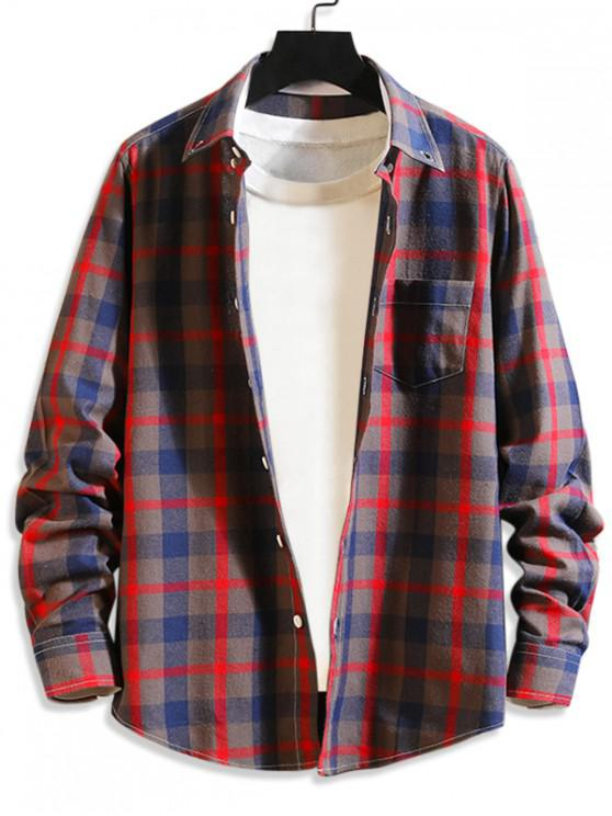 ladies Plaid Print Button Long Sleeves Shirt - CHERRY RED L