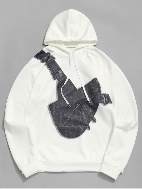 affordable Crossbody Bag Printed Pouch Pocket Hoodie - WHITE M