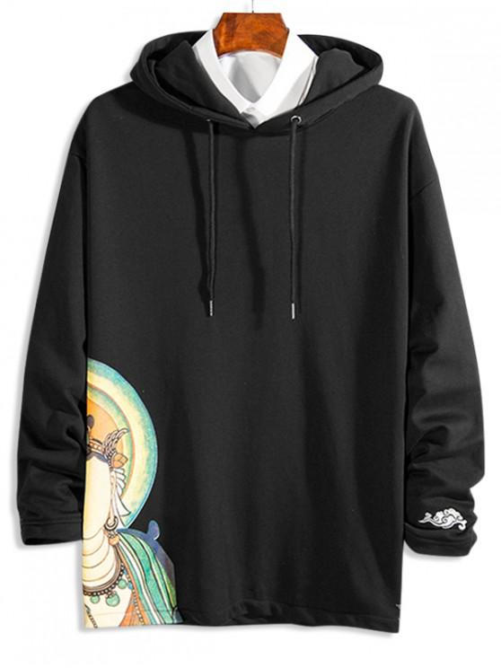 outfit Oriental Graphic Print Drawstring Hoodie - BLACK L