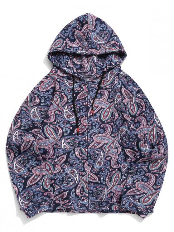 buy Paisley Pattern Zipper Knitted Jacket - CADETBLUE 2XL