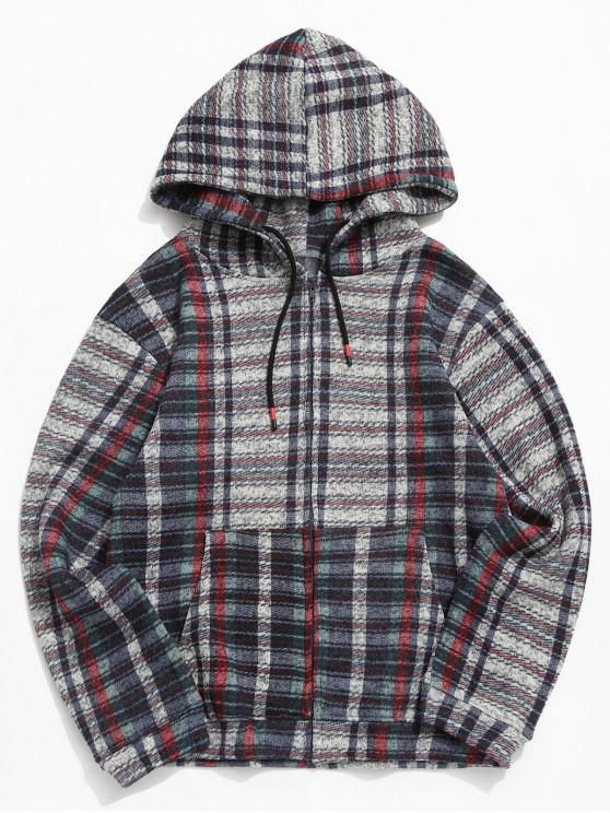 lady Plaid Pattern Zip Up Knitted Jacket - MULTI-A 2XL