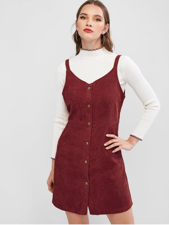 new Button Up Corduroy Sleeveless Flare Dress - RED WINE M