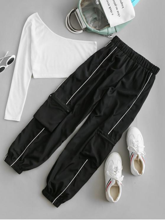 ladies ZAFUL One Shoulder Windbreaker Zippered Pockets Two Piece Set - BLACK S