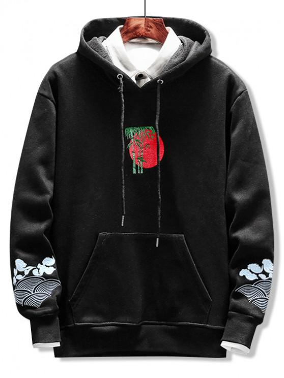 online Bamboo Embroidered Pocket Fuzzy Hoodie - BLACK L