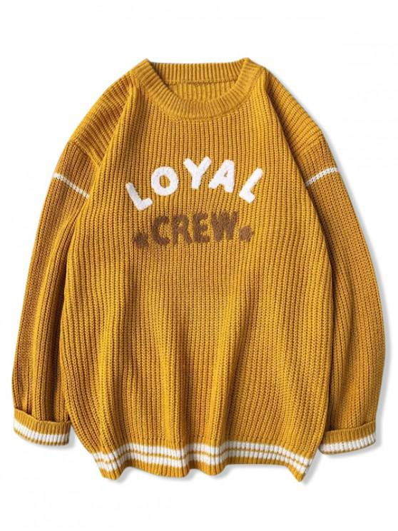 fancy Letter Star Stripe Graphic Sweater - YELLOW M
