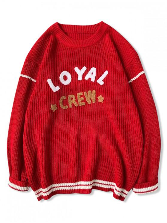 buy Letter Star Stripe Graphic Sweater - RED M