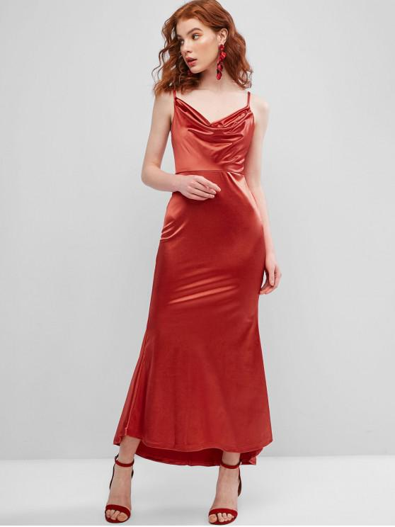 latest Cowl Front Satin Maxi Mermaid Dress - RED S
