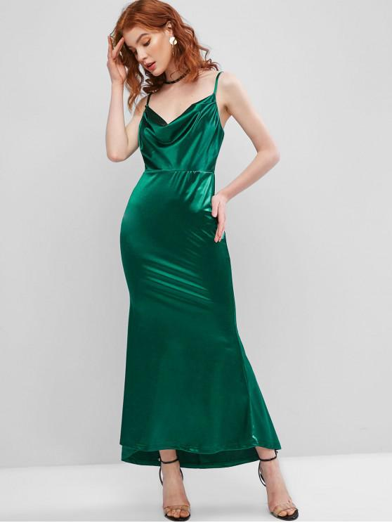 fashion Cowl Front Satin Maxi Mermaid Dress - DEEP GREEN S