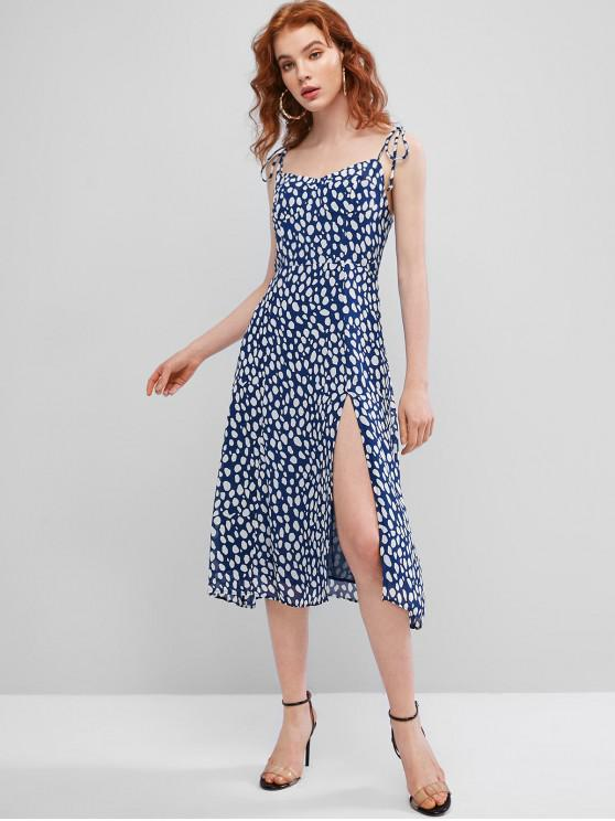 trendy Tie Shirred Chiffon Cami Dress - DEEP BLUE L