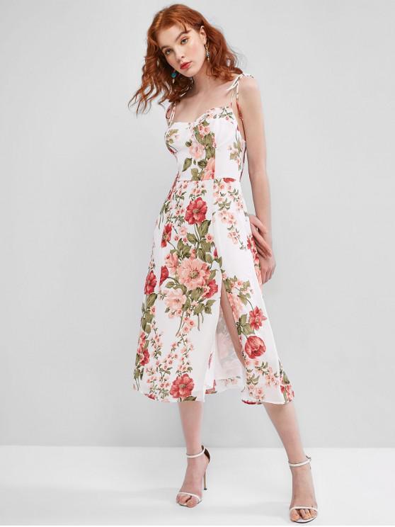 shop Tie Floral Shirred Chiffon Cami Dress - MULTI L