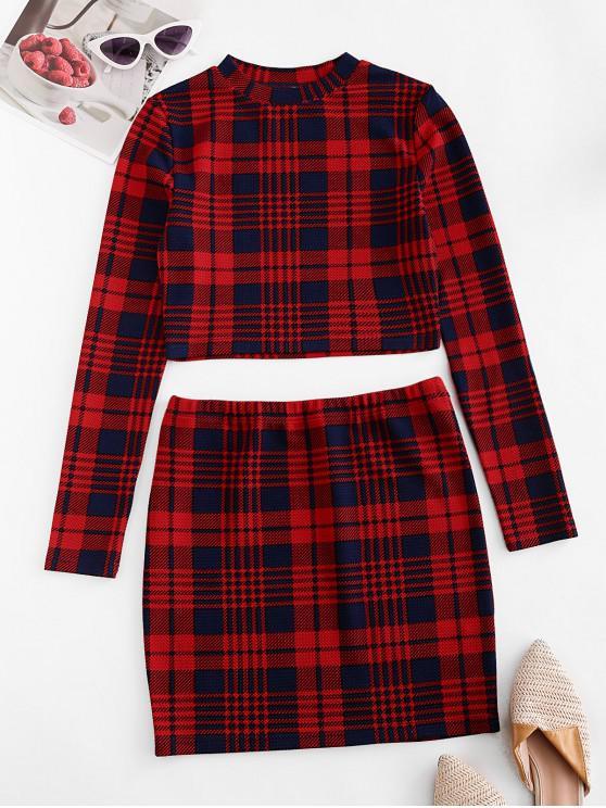 hot Plaid Crop Sheath Two Piece Suit - MULTI-A XL