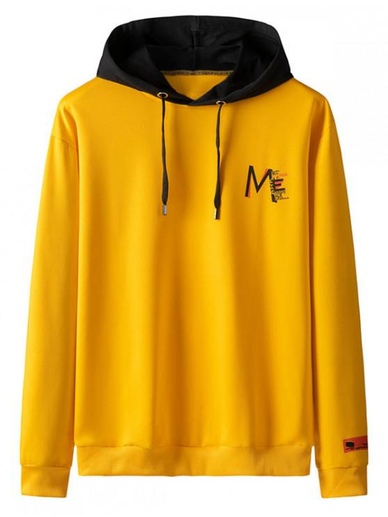 trendy Drawstring Letter Print Color Blocking Panel Hoodie - RUBBER DUCKY YELLOW XL