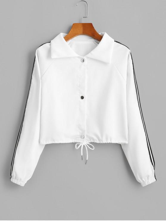 womens Striped Tape Raglan Sleeve Drawstring Hem Jacket - WHITE L