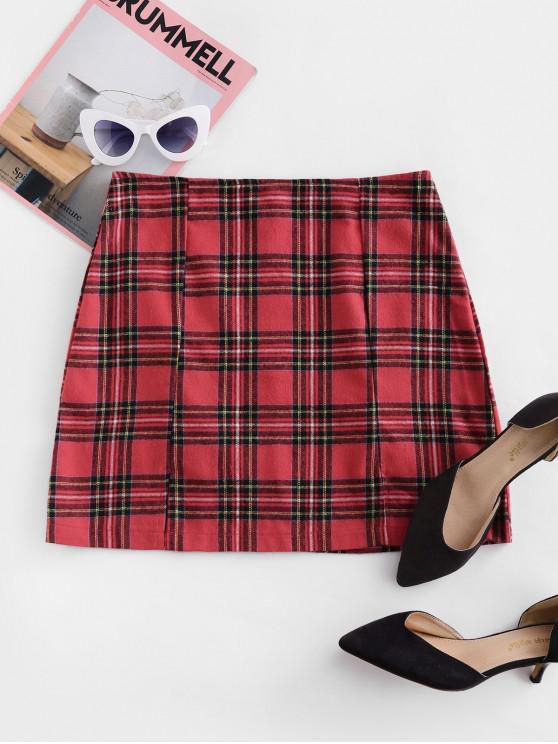 Plaid >> Zaful Tartan Plaid Slit A Line Skirt Red