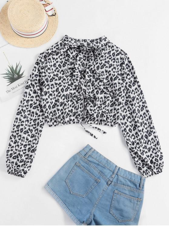 ladies Leopard Tie Mock Neck Crop Blouse - LEOPARD S
