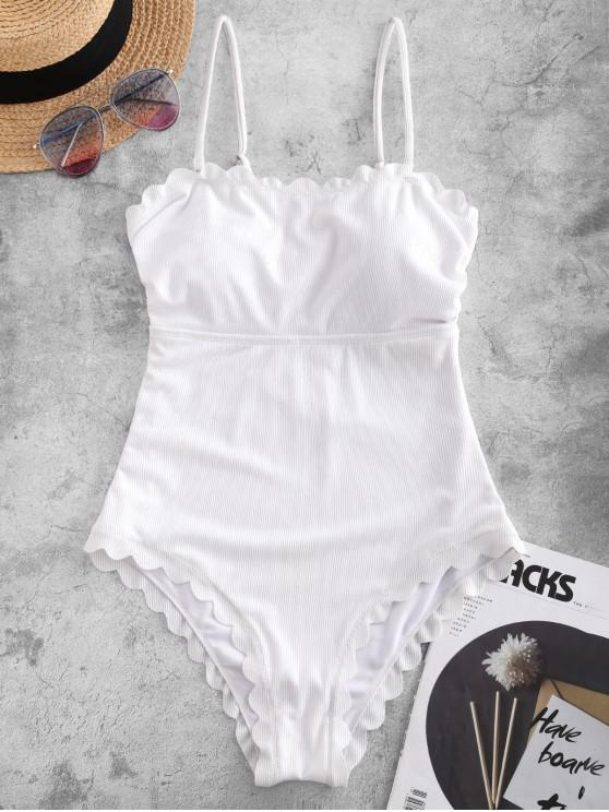 ladies ZAFUL Ribbed Scalloped Tie Back One-piece Swimsuit - WHITE M