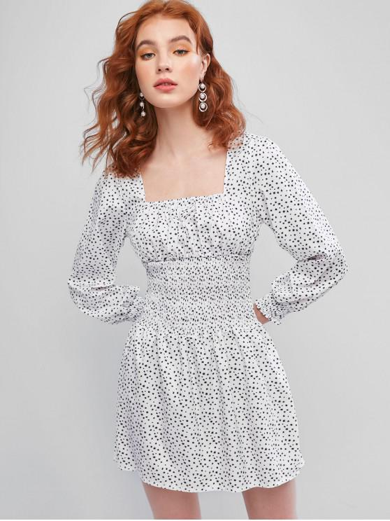 outfit Smocked Waist Ditsy Floral Milkmaid Mini Dress - WHITE XL