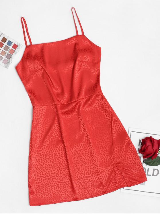 Mini Vestito a Fessura a Pois di ZAFUL - Rosso M