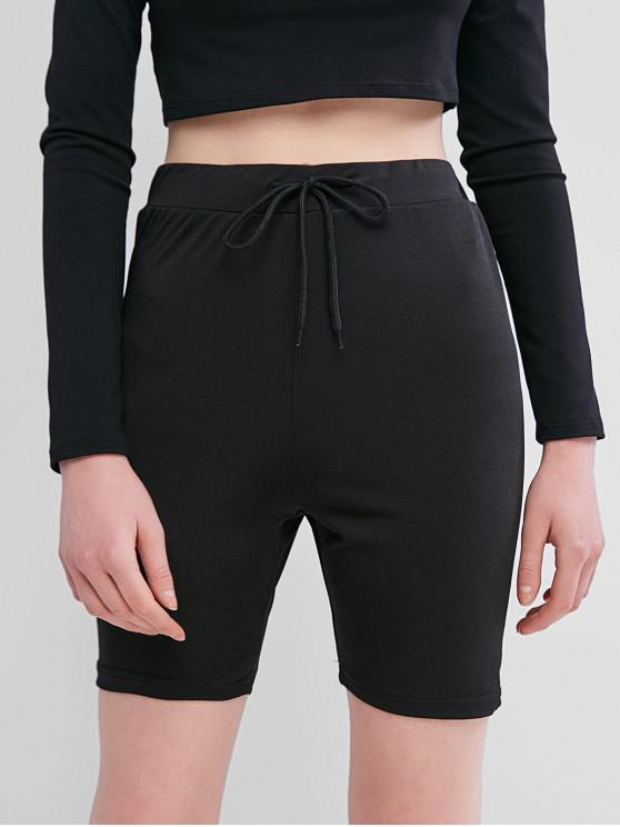 online Solid Color Drawstring Biker Shorts - BLACK S