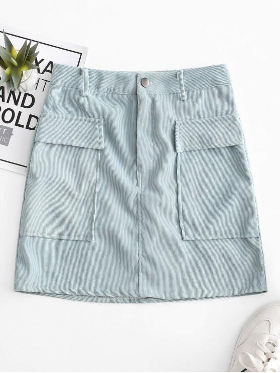 lady Corduroy Zipper Fly Pocket Bodycon Skirt - BLUE M