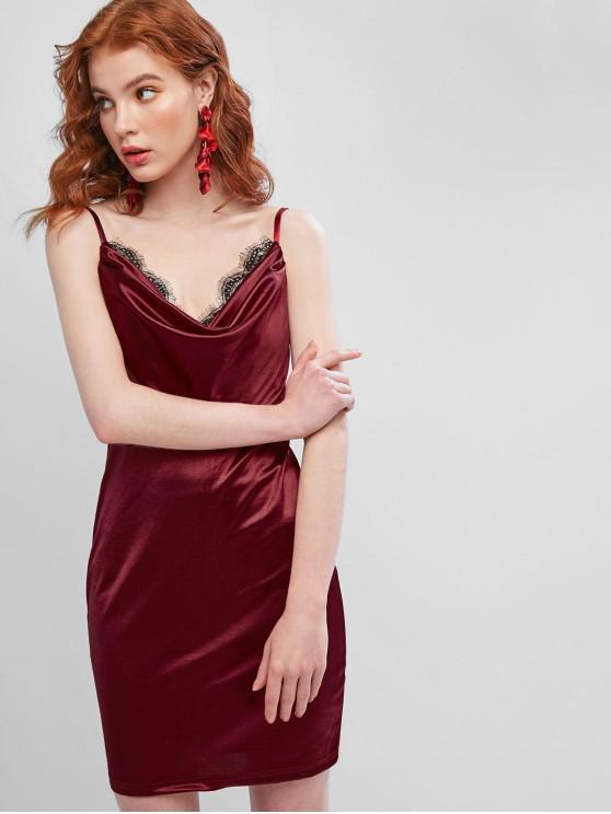 Open Back Lace Panel Satin Cami Dress - Red Wine L | ZAFUL