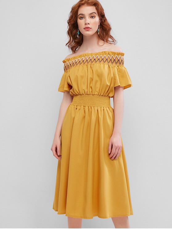 new Smocked Panel Off Shoulder Midi Dress - YELLOW XL